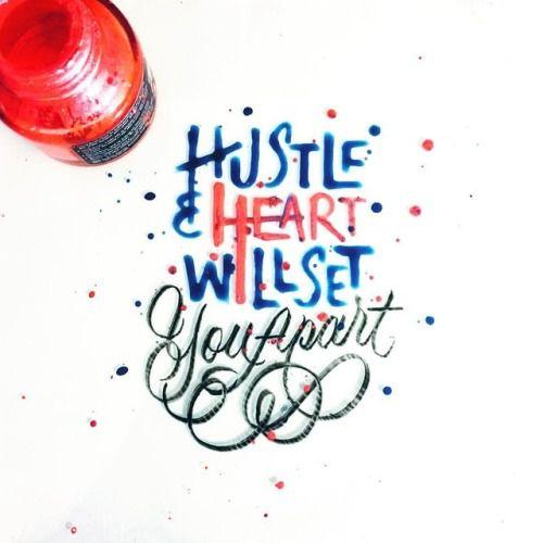 Hustle & Heart Will Set You Apart - #lettering #typegang #calligraphy #thedailytype #brushlettering #goodtype #handlettering #typism #handmadefont #calligritype #letteringdaily #typography #typostrate #50words #typespire #hustle #letteringart #quote