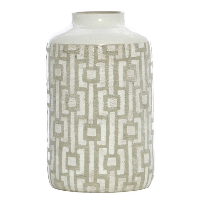 Scanlon Terracotta Grey White Urn Vase, 30 cm