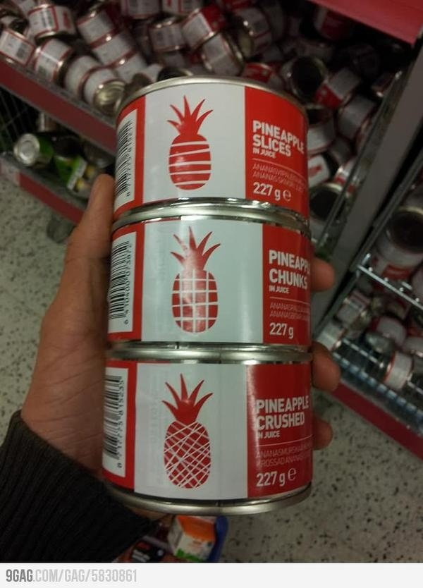 Creative and user friendly canned pineapple labels. #pineapple #can