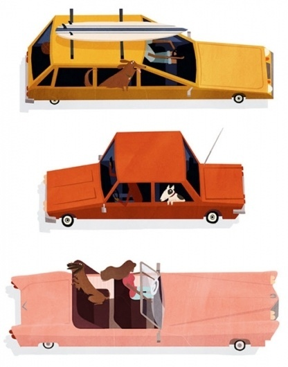 Emmanuelle Walker's Dogs & Cars | Dog Milk #illustration #cars #dogs