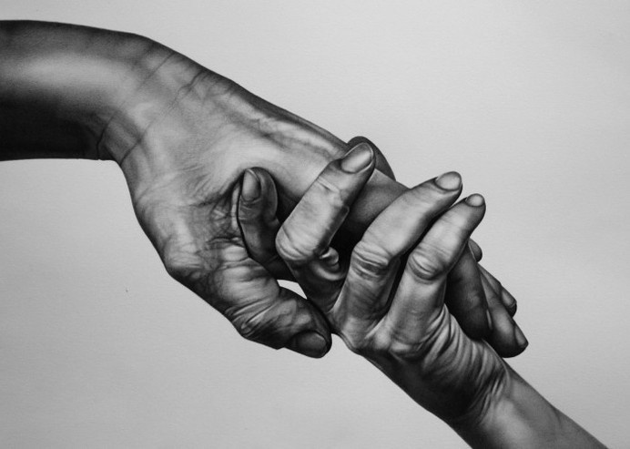 embrace by rhys parkinson   {medium}   People Still-Life #white #touch #black #fingers #illustration #embrace #and #hand #love #beauty