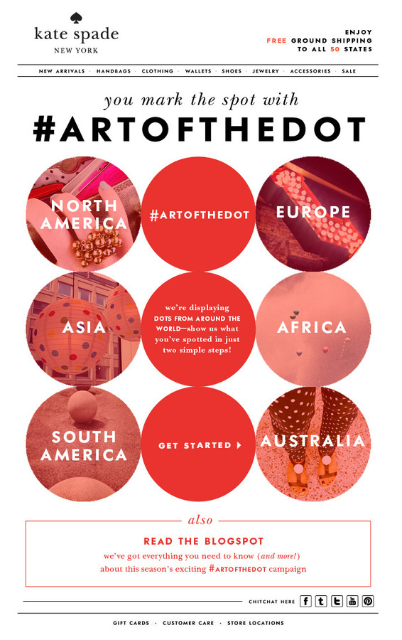 show the world your favorite spots with artofthedot   Kate Spade #subscribe #design #emailer #artofthedot #spade #kate #mailer #newsletter