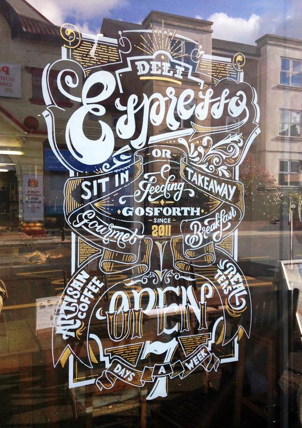 Deli Espresso Window Sign #lettering #sign #window #hand #typography