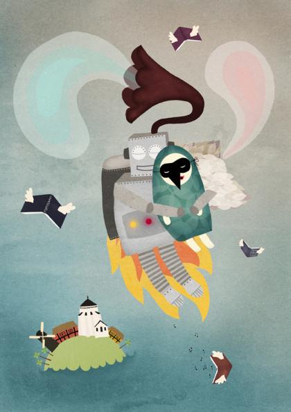 Michelle Carlslund illustration: Music Robot & Bird Girl #bornholm #couple #girl #robot #escape #nordic #books #danish #bird #island #illustration #nature #fly #gramophone #sound #scandinavian #music #wedding #love
