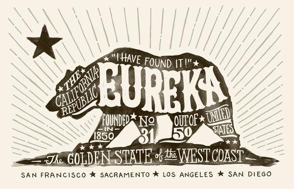 Eureka #lettering #eureka #bear #hand #california