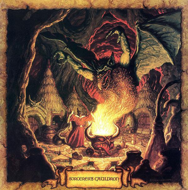 Tim Hildebrandt - Sorcerers Cauldron #dragon #horror #illustration #demon #witch #sorcerer