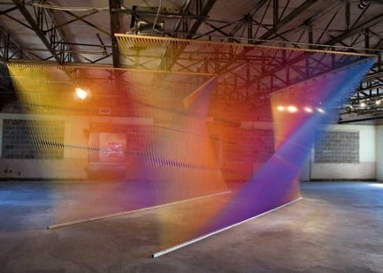 Rainbow Thread Installations #thread #color #art #installation