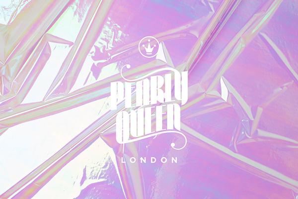 Pearly Queen London on Behance #logotype #holographic #pearlescent #branding #typography #swimwear #iridescent #identity #passport #logo #neon