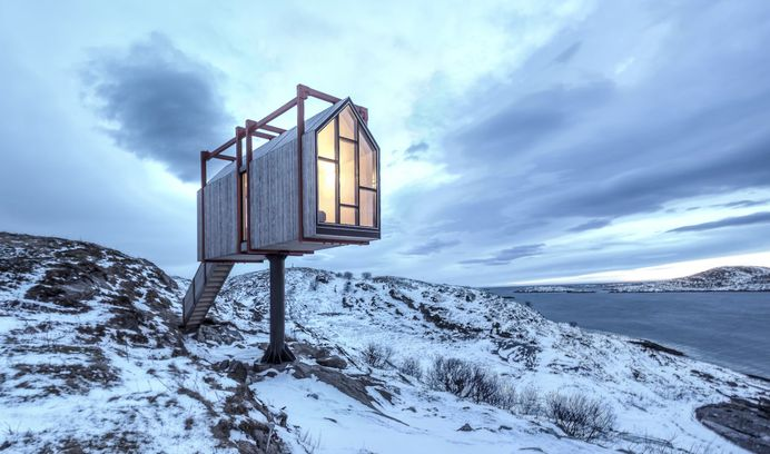 Remote Cabin Cluster on a Norwegian Island. Exterior, Cabin Building Type, Wood Siding Material, Gable RoofLine, and Metal Siding Material.