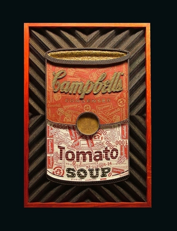 Logos Created from Corrugated Cardboard - 1-800-Recycling #soup #cardboard #campbells #recreated #recycling #logo