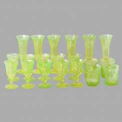 A set of uranium glass (10 glasses, 4 cups, 6 wine glasses)