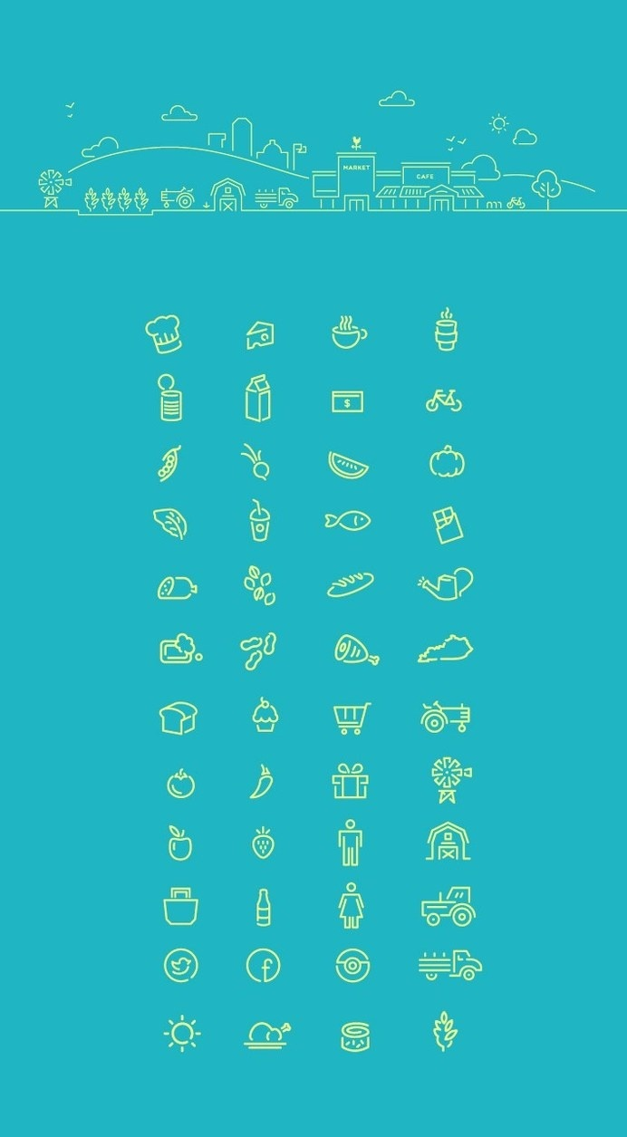 Good Foods Co-Op icons #visual #logos #foods #branding #pattern #icons #food #brand #identity #chicken #logo #good #patchwork