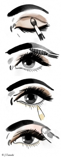 Jillian Tamaki Sketchblog #mascara #how #instructions #makeup #steps #eye #eyelash #to