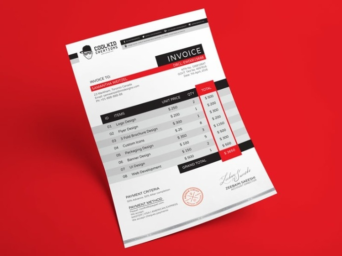 Best Freebies Free Creative Invoice Template Images On Designspiration - Creative invoice template