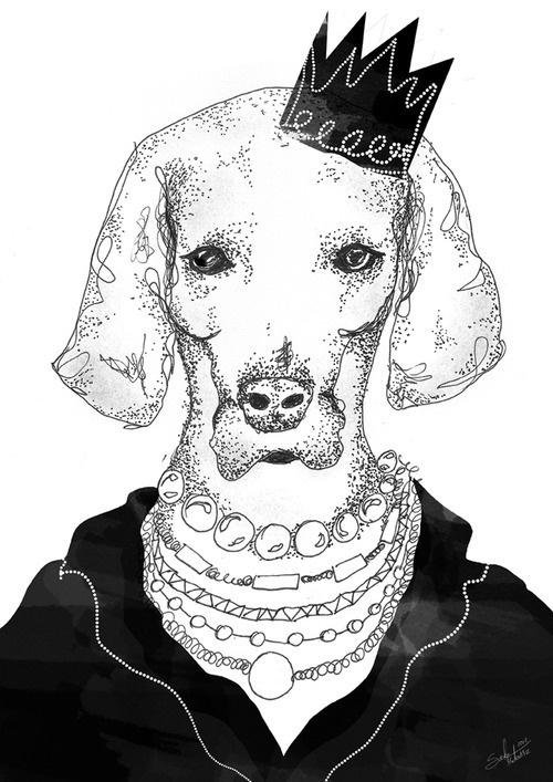 Litte Princess& #illustrations #polak #polska #victim #artis #ink #design #poland #logo #dog #project #illustrator #moda #fashion #queen #suda #pearls #mateusz #ilustracja #s #mateuszsudacom #art #artysta