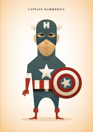 Stanley Chow Illustration #white #red #america #stripes #graphic #captain #simple #illustration #star #blue