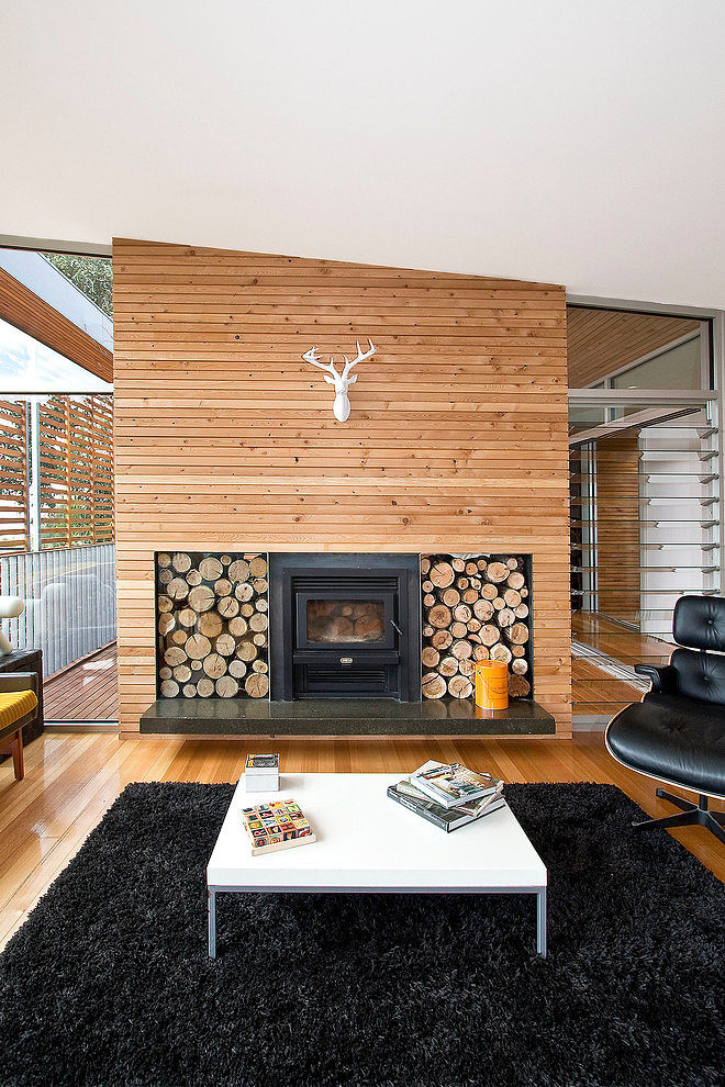 Wood house with single level #interiordesign