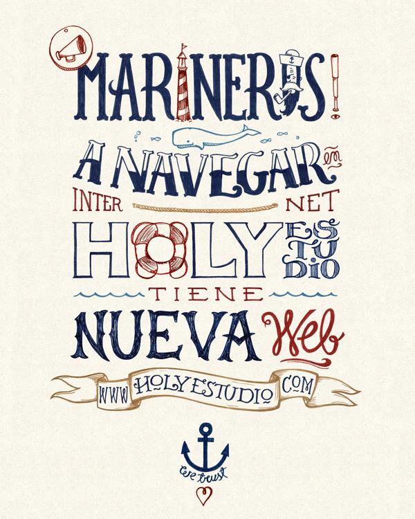 Marineros! on Behance #sailor #ballena #sail #marino #ancla #sea #holy #navy #anchor #mar #wale #marineros