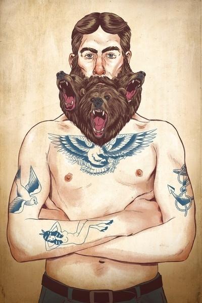 BEARd #beard #design #illustration #tattoo #strange #art #wolf