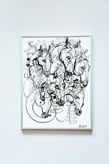 Behance Network :: Project Editor #ink #horse #conterporary #painting #art #drawing