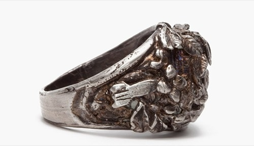 Robert Geller Flower College Ring #silver #jewelry #ring #geller