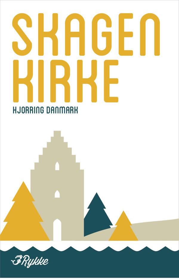 Scandinavian travel poster for Rykke. #kirke #church #denmark #skagen #poster #rykke