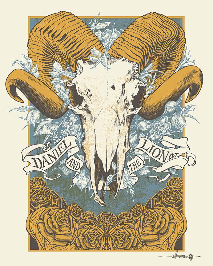 Daniel and the Lion - Summer Tour 2014 #datl #print #design #gig #on #screen #illustration #fire #horns #poster #man #skull #ram #flowers