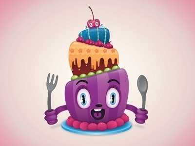 Dribbble - Birthday Cake by Aurelie Maron #icon #illustration #vector #cake