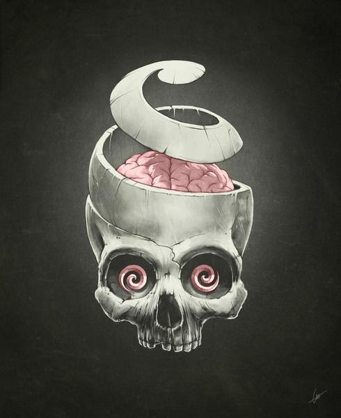 Open Your Mind! by Dr. Lukas Brezak #hypnotism #supernatural #mind #unwind #spiral #brain #illustration #skull