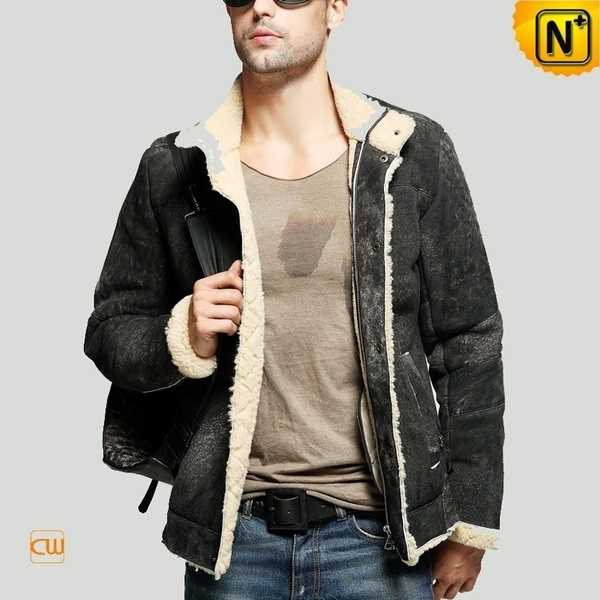 Leather Shearling Jacket for Men CW848105 #jacket #shearling #leather