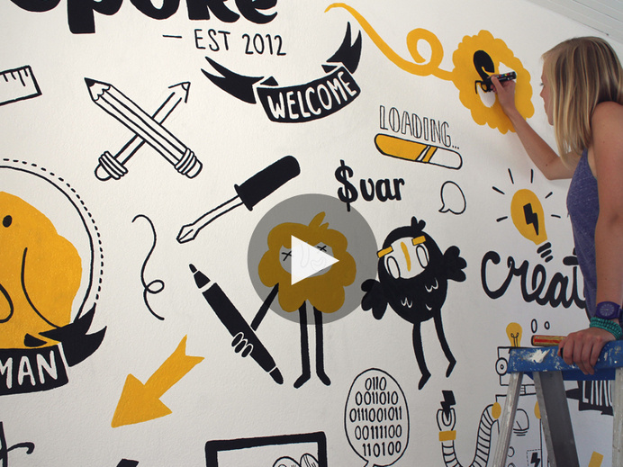 Mural for Wepoke (tech startup) in San Francisco #doodle #wall #painting #murals #typography