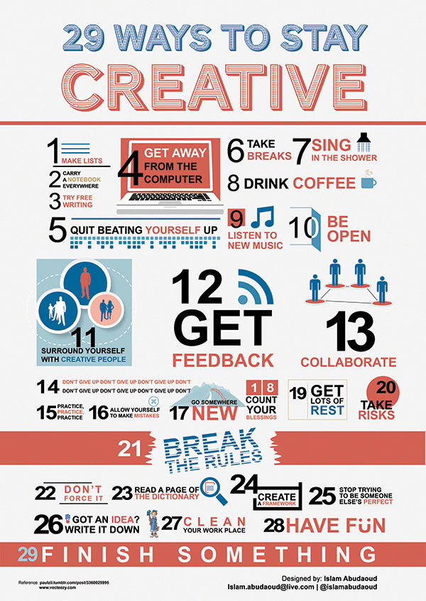 29 Ways to Stay Creative #creative #infographic #design #graphic