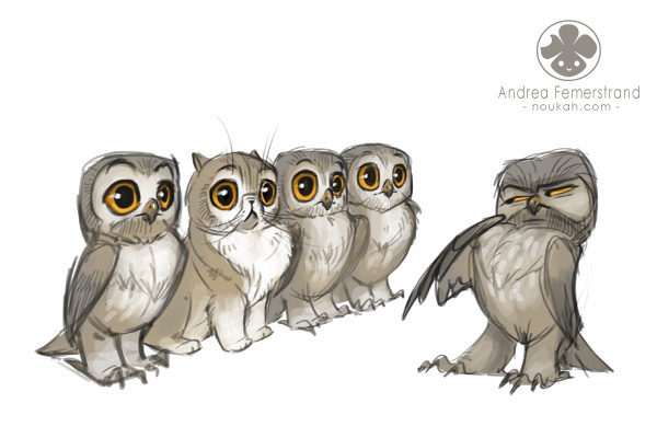 Sketches 2013 #owl #cat #lineup #cute #funny