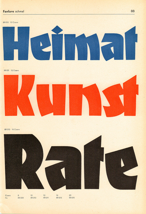 A Berthold classic designed by Louis Oppenheim in 1927. This page from a c. 1960 catalogue shows the poster versions produced from a hard pl #type
