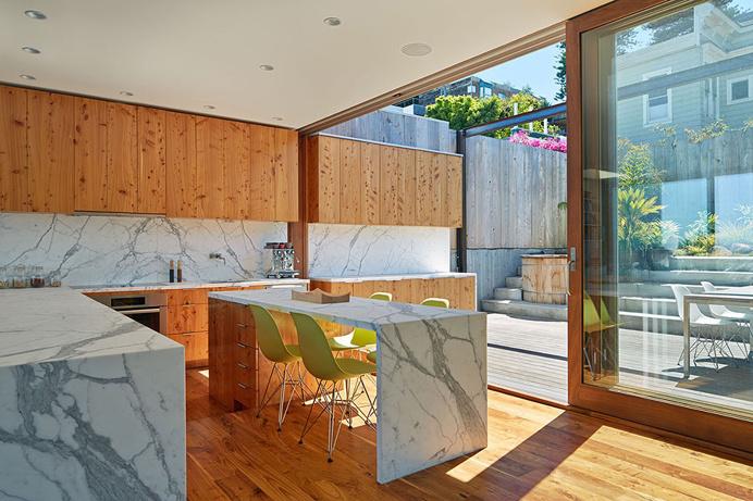 Indoor/outdoor kitchen by Craig Steely #marble #kitchen #wood