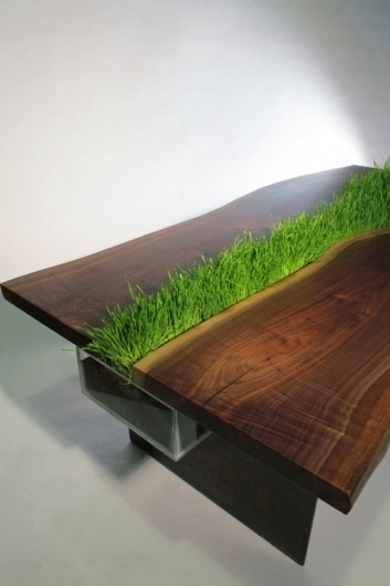 Planter Table by Emily Wettstein | Design Milk #wood #furniture #table #grass