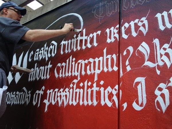 Twitter vs Calligraphy Mural #calligraphy #lettering #mural #gothic #twitter