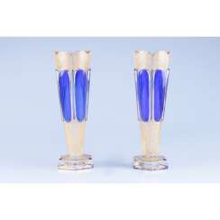 PAIR OF VASES WITH COBALT INSERTS. WESTERN EUROPE, 1 FLOOR. 20th Century GLASS.