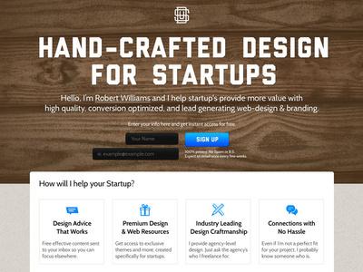Startup Designer #resources #handcrafted #page #design #free #email #web #landing #newsletter