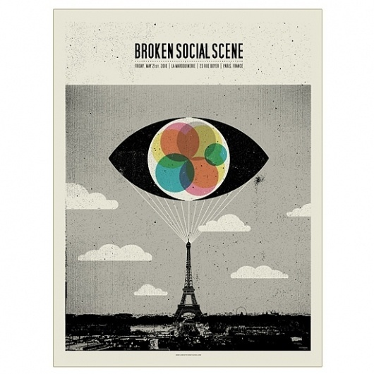 Band Job :: Music Art & Awesome Design :: Broken Social Scene _ La Maroquinerie _ Paris #brokensocialscene #silkscreen #bandjob #poster #band
