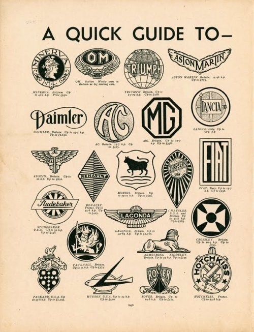 Vintage Guide to Motor-Car Badges Circa 1937 #automotive #logos #branding
