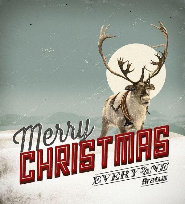 merry christmas I Bratus #reindeer #agency #retro #vintage #poster #noel #bratus #typography