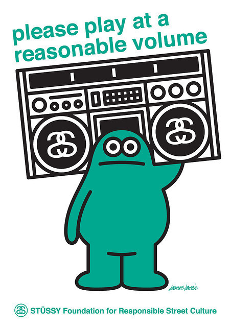Please Play at a Reasonable Volume - James Jarvis #stussy #ghettoblaster #illustration #sound #music #green
