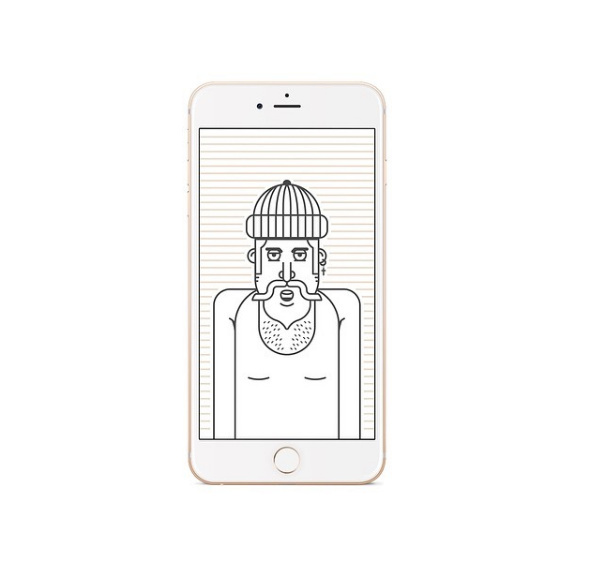 Fat Hipster iPhone Wallpaper. #illustration #outline #illustrator #vector #minimal #icon #graphic #design #hipster