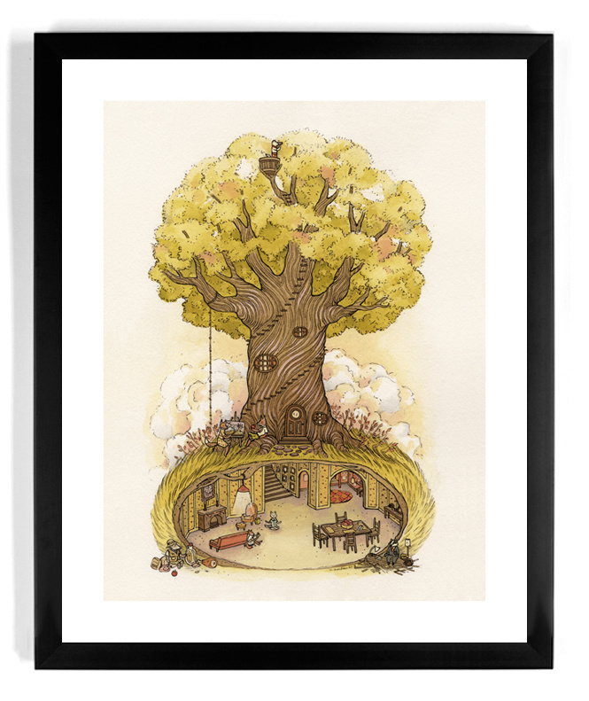 """The People's Print Shop - Nicole Gustafsson's awesome print, """"Fantastic Day""""... #fantasy #tree #underground #design #illustration #art"""