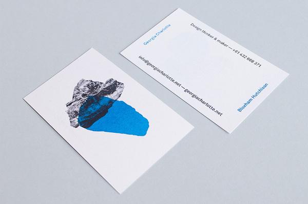 Georgia Charlotte Bloxham Hutchison #card #overprinting #blue #business