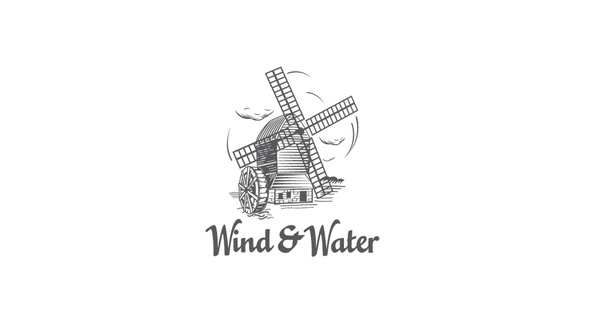 Wind and Water #mark #logotype #wind #water #sign #mill #logo