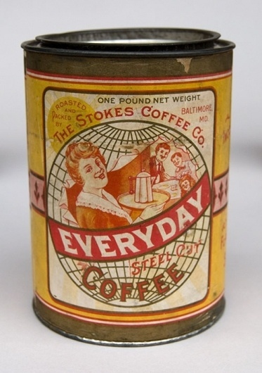 Stokes Coffee Baltimore Maryland Antique Advertising Can Excellent Paper Label #coffee #tin #vintage