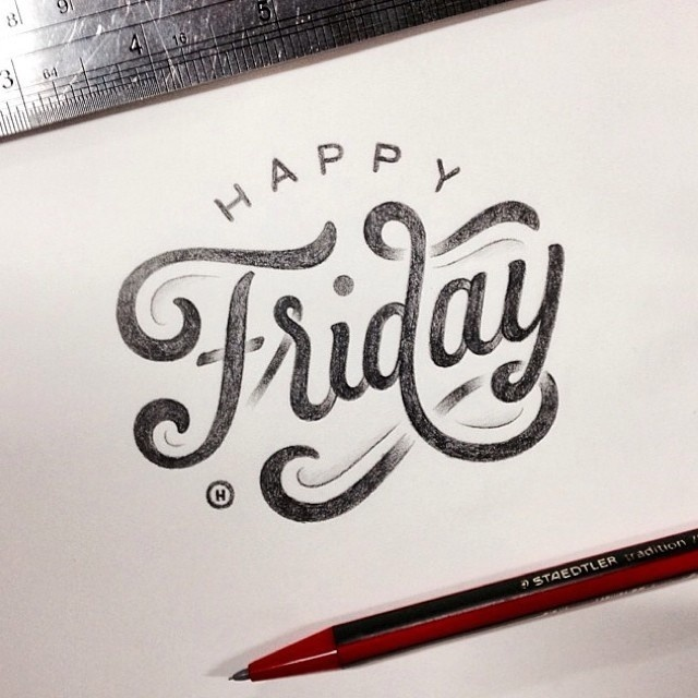 """""""Happy Friday"""" indeed! Beautiful type by the talented @anthonyjhos #typography #hand lettering #type"""