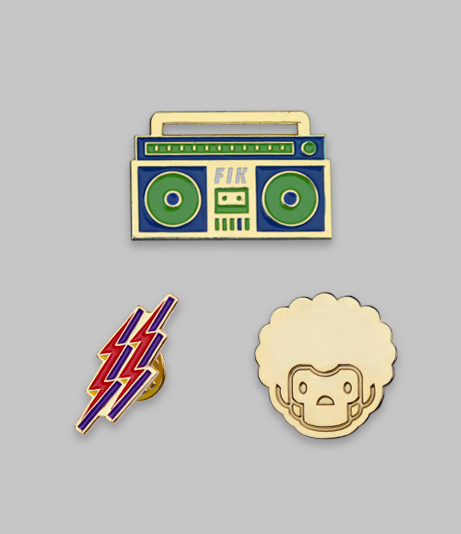 Fourth Is King Assorted Lapel Pins #design #logo #branding #gold #lightning #pins #boom box